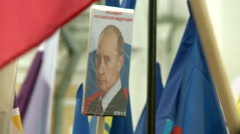 The flags and slogans at the demonstration. Stock Footage