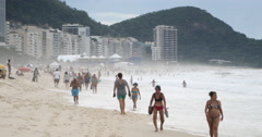 Copacabana, One of the most famous beaches in the world. Rio de Janeiro, Brazil. Stock Footage