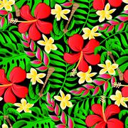 Tropical frangipani palms and hibiscus flowers seamless pattern - stock illustration