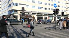 Walking in the area around Knippels Bridge across the Harbour of Copenhagen Stock Footage
