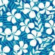 Tropical white and turquoise graphic seamless pattern - stock illustration