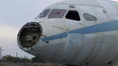 Cyprus Airways Tri-Star airplane abandoned - nose cone wreckage - stock footage