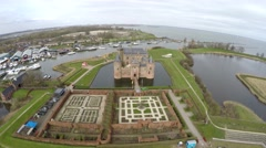 Aerial dolly shot front of Muider Castle in Dutch Muiderslot Muiden 4k Stock Footage
