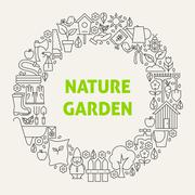 Nature Garden Line Art Icons Set Circle - stock illustration