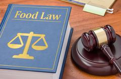 A law book with a gavel - Food law - stock photo