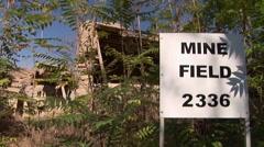 Cyprus ceasefire line - tilt from sky to mine field, Nicosia Buffer Zone - stock footage