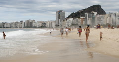 Stock Video Footage of Tourists Enjoying A Sunny Day – Copacabana Beach, Rio De Janeiro, Brazil