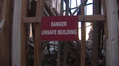 Cyprus Green Line Buffer Zone Nicosia - danger unsafe building sign - stock footage