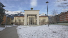 Beautiful view of Landhaus monument in Eduard-Wallnofer-Platz, Innsbruck - stock footage