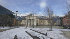 View of Landhaus monument in Eduard-Wallnofer-Platz, Innsbruck - stock footage