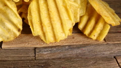 Rippled potato chips. - stock footage