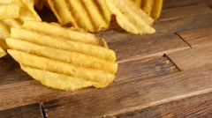 Rippled potato chips. Stock Footage