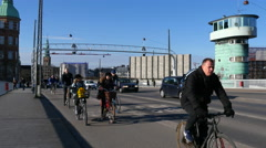 Copenhagen is known for all the bicyclist in the traffic Stock Footage