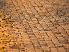 Cobblestone pavement in historial centre of city - stock photo