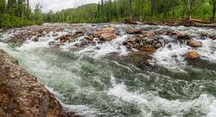 Rough Mountain River in Siberia. Stock Photos