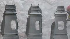 Sandblasting metal parts Stock Footage
