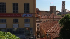 View to the Fragonard perfume factory and old buildings of Grasse, France. Stock Footage