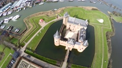Aerial top down view Muider Castle in Dutch Muiderslot located in Muiden 4k Stock Footage