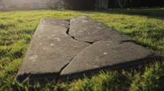 Wide of Damaged Grave Stock Footage