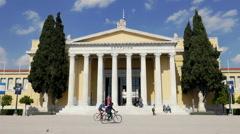 Zappeion Hall, establishing tracking shot,Athens,Greece. Stock Footage