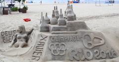Copacaba Beach, Rio De Janeiro, Brazil. Artist. Sand Sculpture. Statue. Castle Stock Footage