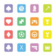 colorful flat game icon set on rounded rectangle - stock illustration