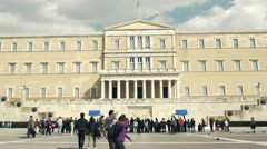 Greek Parliament establish shot,crowd of people visiting Stock Footage
