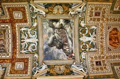 The ceiling of the Gallery of Maps. Vatican museum - stock photo