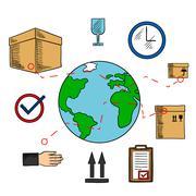 Worldwide shipping and logistics service Stock Illustration