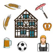 Bavarian culture and traditions icons - stock illustration