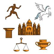 Greek mythology, art and religion icons Stock Illustration
