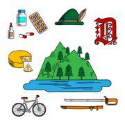 Bavarian and german travel symbols - stock illustration