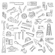 Construction tools and equipment objects - stock illustration