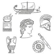 Culture symbols of ancient Greece - stock illustration
