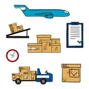 Stock Illustration of Air freight and shipping icons
