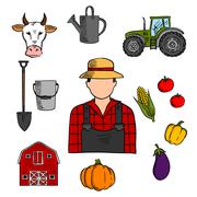 Farmer with agriculture and farming icons - stock illustration