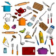 Kitchen utensils and kitchenware icons - stock illustration