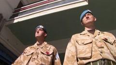 UN United Nations peacekeeper soldiers patrol Cyprus Buffer Zone - stock footage