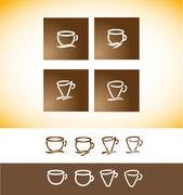 Coffee logo cup contour line drawing Stock Illustration