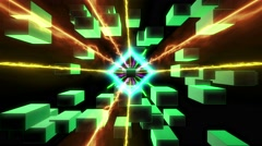 3d sci-fi fantasy dimensional tunnel with laser beam and polygon zooming Stock Footage