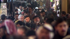 Bazaar of Aleppo, crowded, Syria.mp4 Stock Footage
