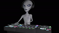 Alien behind the DJ's control panel, video camera moves Stock Footage