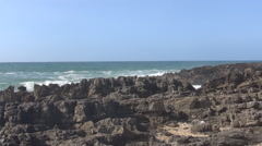 The waves of the Atlantic daylight, volcanic rocks Stock Footage