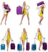 Stock Photo of Woman preparing for vacation with suitcase on white