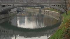 Dragon Bridge over Ljubljanica River in in Ljubljana Stock Footage