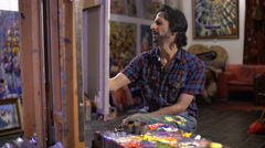 Flour creativity. Artist process of painting a picture Stock Footage