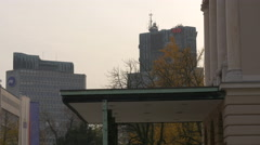Tall buildings seen from the Opera House in Ljubljana Stock Footage