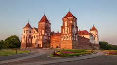 Medieval castle in Mir, Belarus Stock Footage