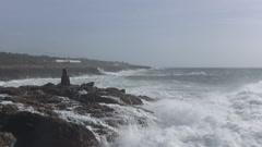 Dangerous rocky Atlantic surf zone Stock Footage