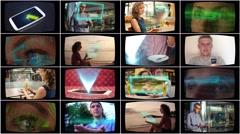 High-Tech Modern Hologram Technology TV Screen Wall. 4K - stock footage